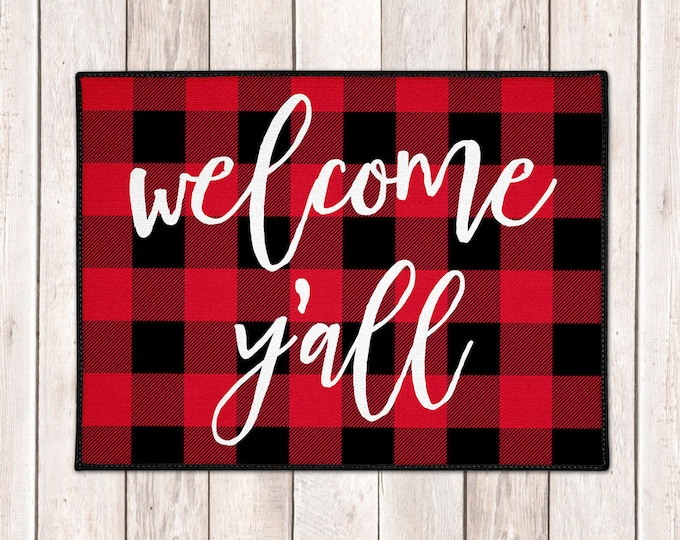 Featured listing image: Buffalo Plaid Welcome Mat - Buffalo Check Door Mat - Lumberjack - Welcome Y'all Mat - Red Black Check - Farmhouse Doormat - Christmas Decor