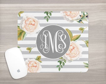 Monogram Mouse Pad - Desk Mouse Pad - Personalized Mouse Pad - Watercolor Mouse Pad - Interlocking Vine - Custom Mousepad - Coworker Gift
