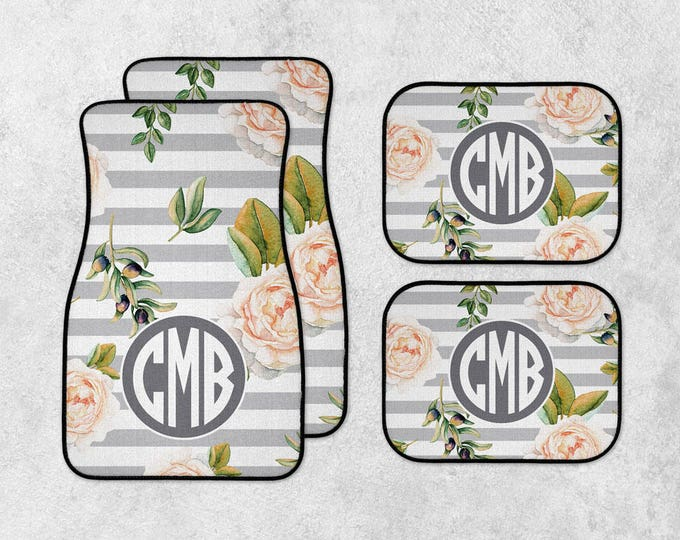 Featured listing image: Personalized Car Mats - Floral Car Mats - Monogram Car Mats - New Car Floor Mats - Custom Car Mat Set - Full Set Car Mats - New Driver Gift