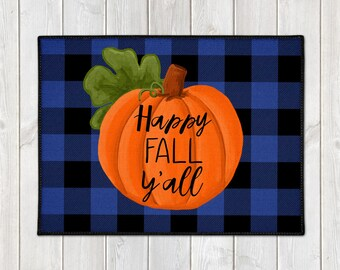 Happy Fall Y'all Mat - Custom Door Mat - Fall Welcome Mat - Buffalo Check Door Mat - Pumpkin Floor Mat - Farmhouse Doormat - Fall Porch