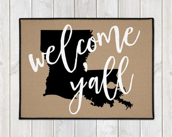 Custom Door Mat -  Custom Welcome Mat - Welcome Y'all Doormat - State Door Mat - Indoor Outdoor Mat - Housewarming - New Home - Wedding Gift
