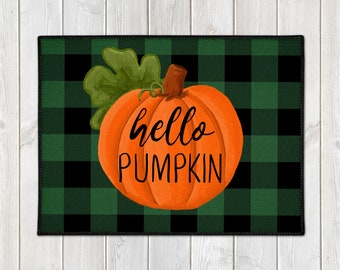 Welcome Door Mat - Fall Welcome Mat - Hello Pumpkin Door Mat - Custom Floor Mat - Buffalo Plaid Mat - Farmhouse Doormat - Fall Porch Decor