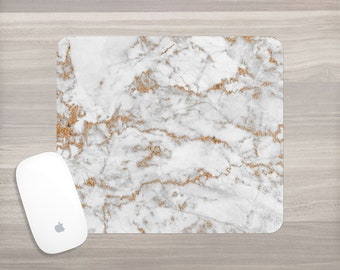Marble Print Mouse Pad - White Gold Marble - Faux Marble Mousepad- Girl Boss Desk - Mouse Mat - Computer Accessories - Office Accessories