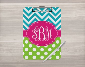 Monogram Clipboard - Personalized Clipboard - Chevron Clipboard - Nurse Clipboard - Polka Dots - Coach Clipboard - Double Sided Clipboard