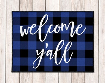 Buffalo Check Door Mat - Buffalo Plaid Welcome Mat - Lumberjack - Welcome Y'all Mat - Blue Black Check - Farmhouse Doormat - Fall Porch