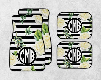 Personalized Car Mats - Floral Car Mats - Monogram Car Mat Set - Custom Car Mat Set - New Car Floor Mats - Full Set Car Mats - New Driver