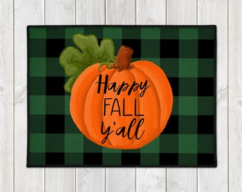 Pumpkin Floor Mat - Custom Door Mat - Fall Welcome Mat - Buffalo Check Door Mat - Happy Fall Y'all Mat - Farmhouse Doormat - Fall Porch