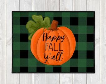 Pumpkin Floor Mat - Custom Door Mat - Fall Welcome Mat - Buffalo Check Door Mat - Happy Fall Y'all Mat - Farmhouse Doormat - Fall Porch