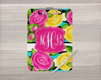 Monogram Clipboard - Personalized Clipboard - Watercolor Flowers - Nurse Clipboard - Teacher Gift - Coach Clipboard - Double Sided Clipboard