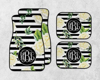 Monogram Car Mats - Personalized Car Mats - Floral Car Mats - New Car Floor Mats - Custom Car Mat Set - Full Set Car Mats - New Driver Gift