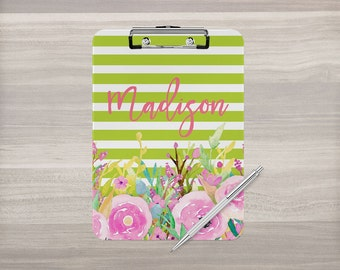 Personalized Clipboard - Monogram Clipboard - Watercolor Flower - Stripe Clipboard - Nurse Clipboard - Teacher Appreciation - Double Sided