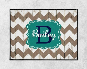 Personalized Doormat, Monogrammed Door Mat, Chevron Door Mat, Welcome Mat, Rustic Rug, Housewarming, Farmhouse Mat, Realtor Gift, Wedding