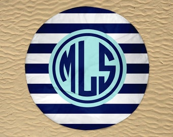 Monogram Round Towel - Round Beach Towel - Beach Roundie - Personalized Round Towel - Round Beach Blanket - Oversize Towel - Stripe Towel