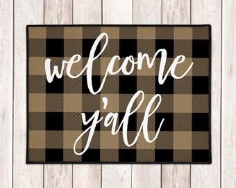 Welcome Y'all Mat - Buffalo Plaid Welcome Mat - Buffalo Check Door Mat - Lumberjack - Tan Black Check - Farmhouse Doormat - Fall Porch Decor