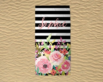 Beach Towel - Personalized Beach Towel - 30x60 Towel - Monogram Beach Towel - Bridesmaid Gifts - Floral Towel - Black Stripe Towel