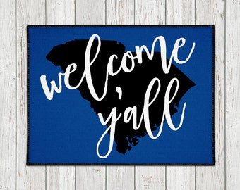 Welcome Y'all Doormat - Custom Door Mat -  Custom Welcome Mat - State Door Mat - Indoor Outdoor Mat - Wedding Gift - Housewarming - New Home