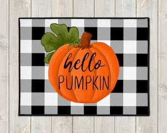 Hello Pumpkin Door Mat - Custom Floor Mat - Fall Welcome Mat - Buffalo Plaid Mat - Farmhouse Doormat - Fall Porch Decor - Welcome Door Mat