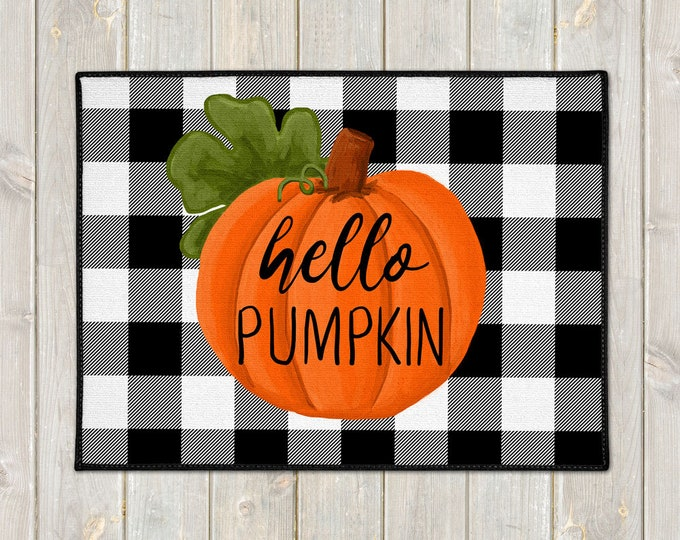 Featured listing image: Hello Pumpkin Door Mat - Custom Floor Mat - Fall Welcome Mat - Buffalo Plaid Mat - Farmhouse Doormat - Fall Porch Decor - Welcome Door Mat