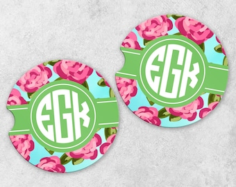 Monogram Car Coaster Set - Personalized Car Coasters - Cup Holder Coasters - Sandstone Car Coasters - Set of 2 Coasters - Watercolor Flowers