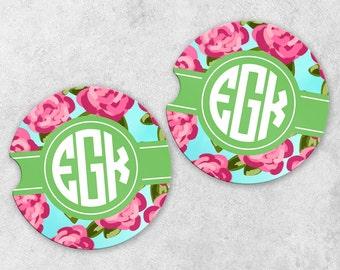 Monogram Car Coaster Set - Personalized Car Coasters - Cup Holder Coasters - Sandstone Car Coasters - Set of 2 Coasters - Watercolor Flowers
