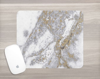 White Gold Marble Mouse Pad - Gray Marble Mousepad - Girl Boss - Desk Accessories - Mouse Mat - Computer Accessories - Gift for Her - Office