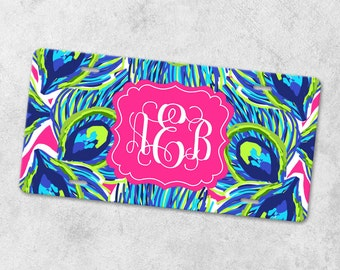 Watercolor License Plate - Front Car Tag - Monogram License Plate - Personalized License Plate - Metal Car Tag - Monogram Car Tag - Peacock