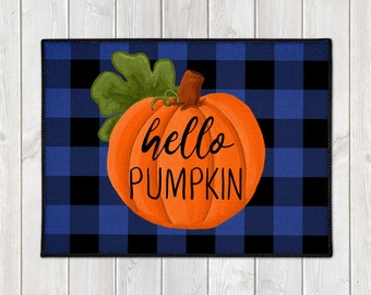 Buffalo Plaid Mat - Fall Welcome Mat - Hello Pumpkin Door Mat - Custom Floor Mat - Farmhouse Doormat - Fall Porch Decor - Welcome Door Mat