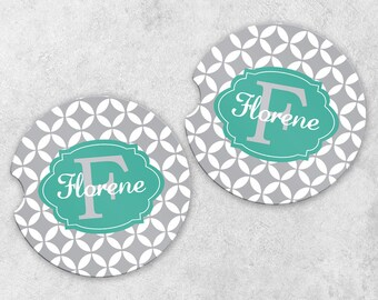 Personalized Car Coaster Set - Monogram Car Coasters - Cup Holder Coasters - Sandstone Car Coasters - Set of 2 Coasters - New Driver Gift