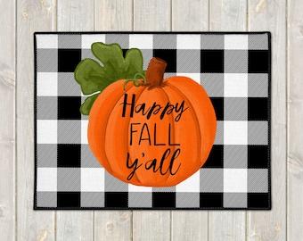 Custom Door Mat - Fall Welcome Mat - Buffalo Check Door Mat - Pumpkin Floor Mat - Happy Fall Y'all Mat - Farmhouse Doormat - Fall Porch