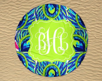 Round Beach Towel - Beach Roundie - Monogram Round Towel - Personalized Round Towel - Round Beach Blanket - Oversize Towel - Peacock Towel