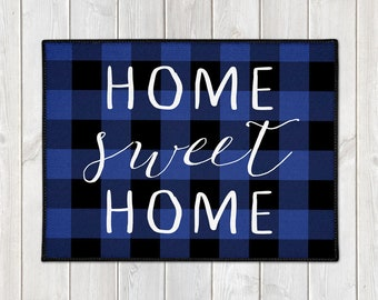 Rustic Door Mat - Custom Welcome Mat - Buffalo Plaid Doormat - Home Sweet Home - Lumberjack - Blue Check - Housewarming Gift - Holiday Mat
