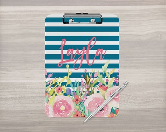 Personalized Clipboard - Monogram Clipboard - Nurse Clipboard - Teacher Appreciation - Watercolor Flowers - Stripe Clipboard - Double Sided