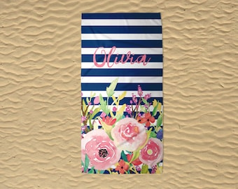Monogram Beach Towel - Wedding Beach Towel - Bridesmaid Towels - Custom Beach Towel - 30x60 Towel - Personalized Beach Towel - Modern Floral