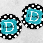Cup Holder Coasters - Personalized Car Coaster Set - Monogram Car Coasters - Sandstone Car Coasters - Set of 2 Coasters - Polka Dot Coasters