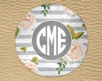 Round Beach Towel - Beach Roundie - Monogram Round Towel - Personalized Round Towel - Round Beach Blanket - Oversize Towel - Circle Towel