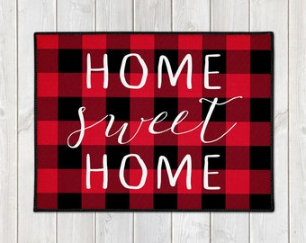 Buffalo Plaid Door Mat - Custom Welcome Mat - Home Sweet Home - Lumberjack - Red Black Check - Christmas Decor - Housewarming Gift - Holiday
