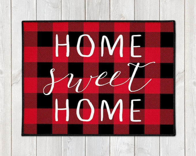Featured listing image: Buffalo Plaid Door Mat - Custom Welcome Mat - Home Sweet Home - Lumberjack - Red Black Check - Christmas Decor - Housewarming Gift - Holiday