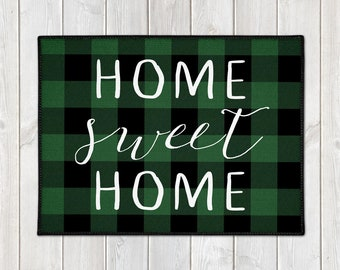 Buffalo Check Doormat - Custom Welcome Mat - Buffalo Plaid - Home Sweet Home - Lumberjack - Green Check - Christmas Decor - Housewarming