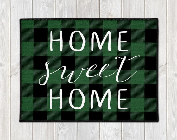 Featured listing image: Buffalo Check Doormat - Custom Welcome Mat - Buffalo Plaid - Home Sweet Home - Lumberjack - Green Check - Christmas Decor - Housewarming
