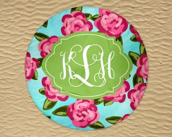 Round Beach Towel - Monogram Round Towel - Beach Roundie - Personalized Round Towel - Round Beach Blanket - Oversize Towel - Pink Rose Towel