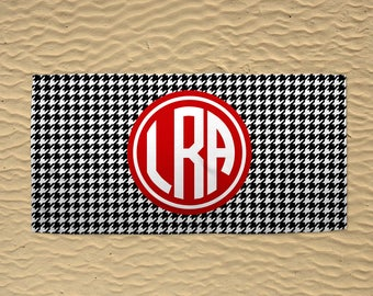 Personalized Beach Towel - Monogram Beach Towel - Wedding Beach Towel - 30x60 Towel - Custom Beach Towel - Houndstooth Towel - Black & Red