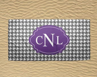 Monogram Beach Towel - Personalized Beach Towel - 30x60 Towel - Custom Beach Towel - Bridesmaid Towels - Houndstooth Towel - Gray and Purple