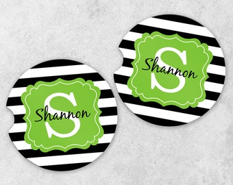 Monogram Car Coasters - Cup Holder Coaster Set - Personalized Car Coasters - Sandstone Car Coasters - Set of 2 Coasters - Stripe Coasters