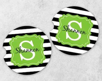 Monogram Car Coasters - Cup Holder Coaster Set - Personalized Car Coasters - Sandstone Car Coasters - Set of 2 Coasters - Stripe Coasters