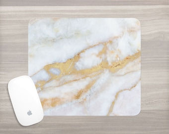 Mouse Pad - White Gold Marble - Marble Mouse Pad - Faux Marble - Girl Boss - Desk Accessories - Mouse Mat - Computer Accessories - Gift Her