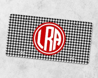 Preppy License Plate - Front Car Tag - Monogram License Plate - Personalized License Plate - Metal Car Tag - New Driver Gift - Houndstooth