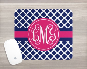 Monogram Mouse Pad - Personalized Mouse Pad - Desk Mouse Pad - Custom Mousepad - Vine Monogram - Quatrefoil Mousepad - Interlocking Vine