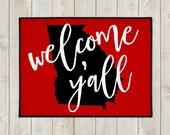 Custom Welcome Mat - Custom Doormat -  Welcome Y'all Door Mat - State Door Mat - Indoor Outdoor Mat - Wedding Gift - Housewarming - New Home