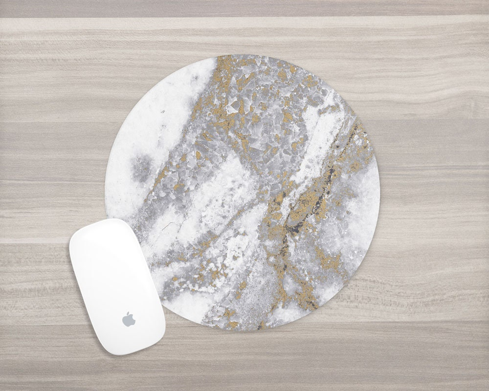 White Gold Marble Mouse Pad Gray Marble Mousepad Girl
