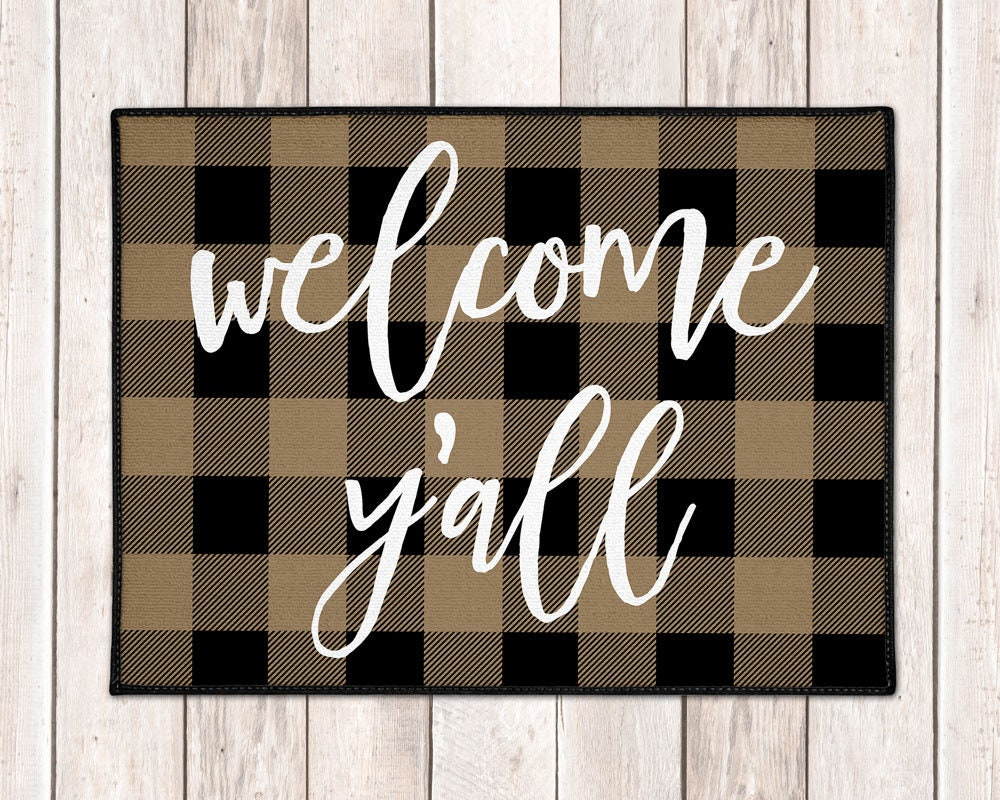 Welcome Y All Mat Buffalo Plaid Welcome Mat Buffalo